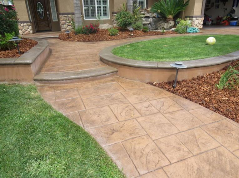 this is a picture of stamped concrete walkway in front of a house in Granite Bay, California